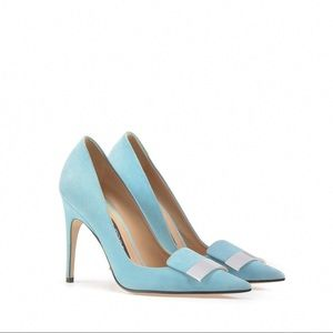 Sergio Rossi baby blue pointed pumps EU 37